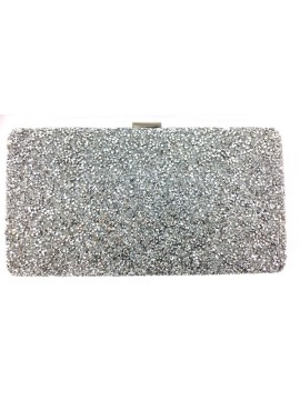 Sparkling Textured Clutch in Silver