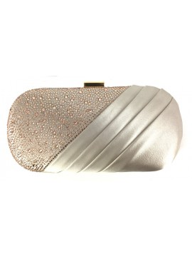 Satin and Crystal Oval Clutch Evening Bag in Champagne