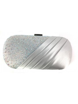 Satin and Crystal Oval Clutch Evening Bag in Silver