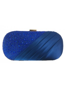 Satin and Crystal Oval Clutch Evening Bag in Blue