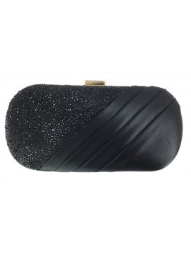 Satin and Crystal Oval Clutch Evening Bag in Black