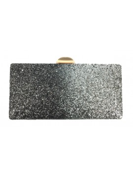 Glitter Two Tone Clutch Evneing Bag in Silver Black