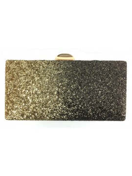 Glitter Two Tone Clutch Evneing Bag in Gold Black