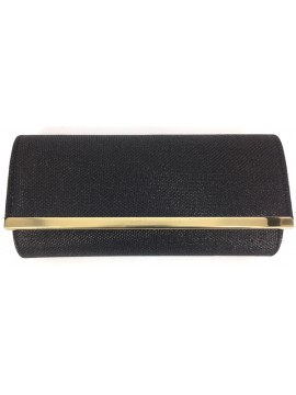 Fold Over Evening Clutch Bag in Black