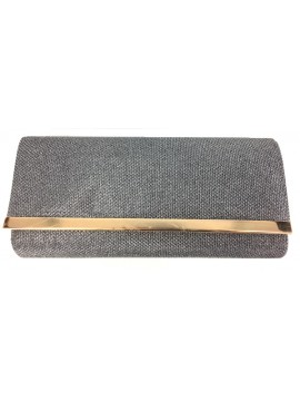 Fold Over Evening Clutch Bag in Silver Black