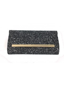Glitter Covered Flap Over Clutch Bag in Silver