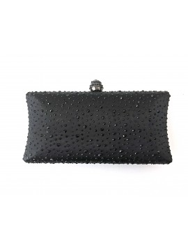 Hard Case Black Crystal Stud Clutch Curved Evening Bag