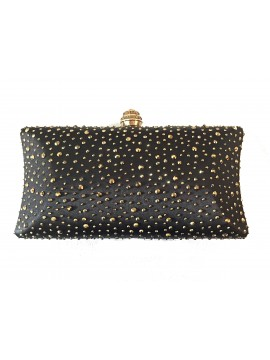 Hard Case Black Gold Stud Clutch Curved Evening Bag