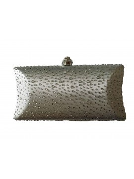 Hard Case Silver Crystal Stud Clutch Curved Evening Bag