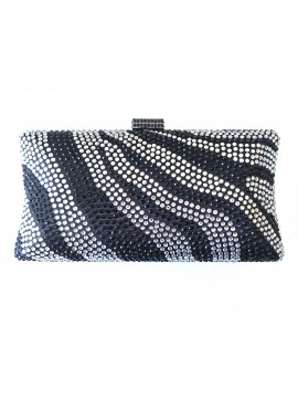 Hard Case Zebra Crystal Stud Clutch Curved Evening Bag