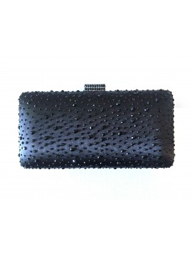 Hard Case Black Crystal Stud Rectangle Clutch Bag