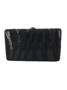 Sequin Stripe Clutch in Black