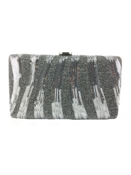 Sequin Stripe Clutch in Silver