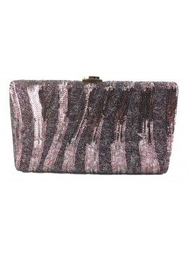 Sequin Stripe Clutch in Violet/Pink