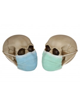 Skull Figurine with Surgical Face Mask