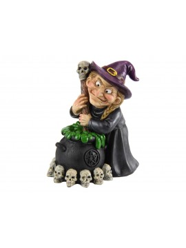 Witch with Brewing Cauldron Figurine