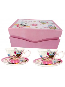 Boxed Tea Cup Set in Owl Print