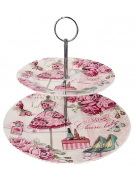 Boxed 2 Layer Cake Plate in Pink
