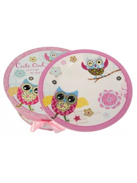 Boxed Side Plates Set of 6 in Owl Print