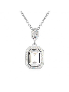 Crystal Rectangular Pendant Necklace