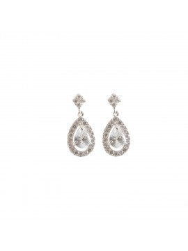 Cubic Zirconia Fine Double Mini Teardrop Earrings