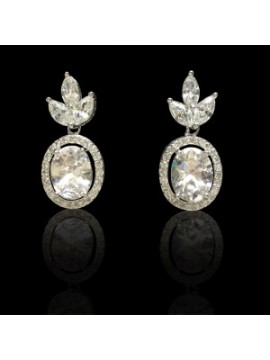Cubic Zirconia Circular Drop Earrings