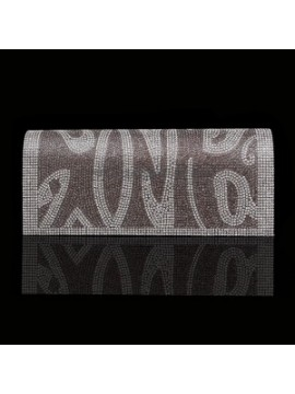 Flap Clutch Evening Bag in Grey