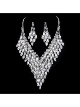 Crystal Silver Coloured Necklace and Earrings Set