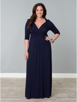Kiyonna Plus Size Desert Rain Maxi Dress - Navy