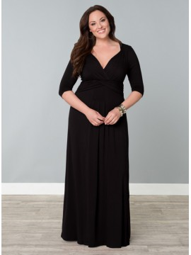 Kiyonna Plus Size Desert Rain Maxi Dress in Black