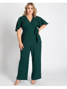 Kiyonna Plus Size Charisma Crepe Jumpsuit in Green