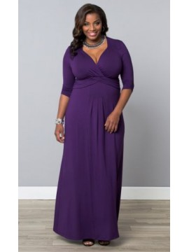 Kiyonna Plus Size Desert Rain Maxi Dress in Purple
