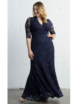 Kiyonna Screen Siren Lace Dress in Navy