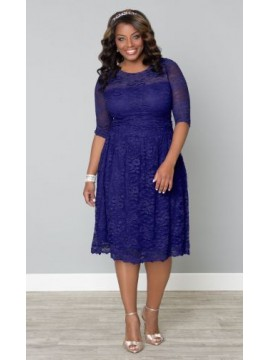 Kiyonna Scalloped Luna Lace Dress in Ultraviolet