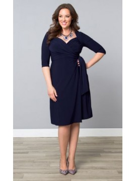 Kiyonna Plus Size Sweetheart Knit Wrap Dress in Navy
