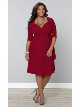 Kiyonna Plus Size Sweetheart Knit Wrap Dress in Red