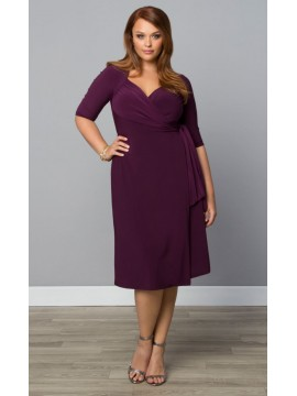 Kiyonna Plus Size Sweetheart Knit Wrap Dress in Purple