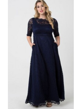 Kiyonna Leona Lace Gown in Navy