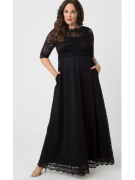 Kiyonna Leona Lace Gown in Black