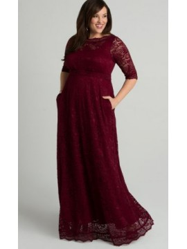 Kiyonna Leona Lace Gown in Ruby