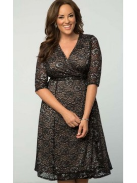 Kiyonna Glittering Wrap Lace Dress