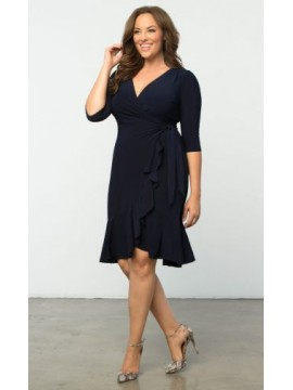 Kiyonna Whimsy Wrap Dress in Navy