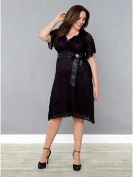 Kiyonna Retro Glam Lace Dress in Purple