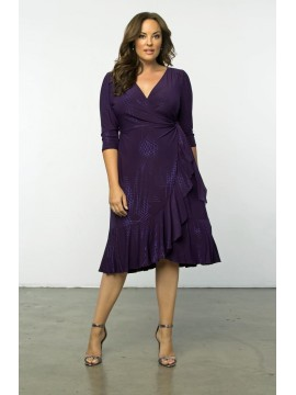 Kiyonna Whimsy Wrap Dress in Shimmering Purple