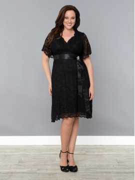 Kiyonna Retro Glam Lace Dress in Black
