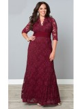 Kiyonna Screen Siren Lace Dress in Red