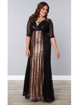 Kiyonna Gatsby Sequin Evening Gown - Rose Gold