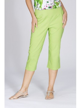 Ladies Plus Size Pull On Crop Pant in Lime
