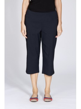 Ladies Plus Size Pull On Crop Pant in Navy