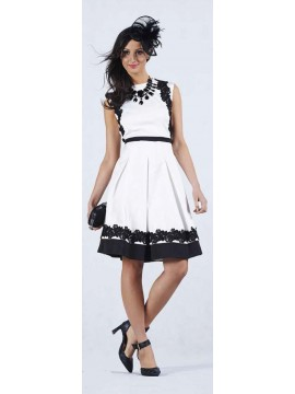 5PM Black with White Embroidery Trim Dress (opposite colours to picture)